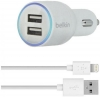 Belkin Dual Car Charger with Lightning to USB Cable (10 Watt/2.1 Amp Per Port) White рис.1