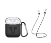 Airpods Silicon case with carbine+straps black (in box) мал.1