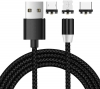 Magnetic Cable 3in1 Round Lighting+Micro+Type C Black рис.1