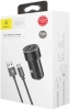 Baseus Small Screw 3.4A Dual-USB Car Charging Set (with Type-C) Black (TZXLD-B01) рис.4