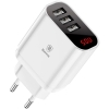 Baseus Mirror Lake Intelligent Digital Display 3USB Travel Charger 3.4A White (CCALL-BH02) мал.1