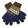 Touch Gloves with ornament blue/brown рис.1