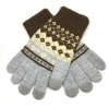 Touch Gloves with ornament grey/brown рис.1