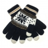 Touch Gloves with ornament dark blue/white рис.1