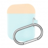 Airpods Silicon case mix color with hook sea blue/pink (in box) рис.1