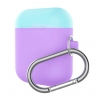 Airpods Silicon case mix color with hook lavender purple/sea blue (in box) рис.1