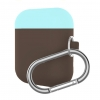 Airpods Silicon case mix color with hook dark brown/sea blue (in box) мал.1
