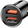 Baseus Circular Plastic A+A 30W Dual QC3.0 Quick Car Charger(QC 3.0,SCP,AFC)  Black (CCALL-YD01) рис.4