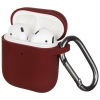 New Airpods Silicon case with hook burgundy (in box) рис.1