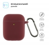 Airpods 2 Ultrathin Silicon case with hook Burgundy (in box) мал.2