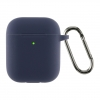 Airpods 2 Ultrathin Silicon case with hook Dark Blue (in box) мал.1