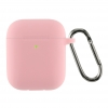 Airpods 2 Ultrathin Silicon case with hook Pink (in box) мал.1