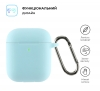 Airpods 2 Ultrathin Silicon case with hook Sky Blue (in box) мал.2
