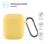 Airpods 2 Ultrathin Silicon case with hook Yellow (in box) мал.2