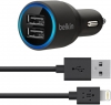 Belkin Dual Car Charger with Lightning to USB Cable (10 Watt/2.1 Amp Per Port) Black мал.1